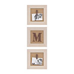Cream Monogram M Clip Collage Frames, Set of 3