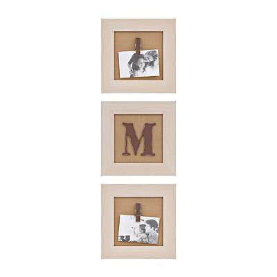 Cream Monogram M Clip Collage Frames, Set of 3