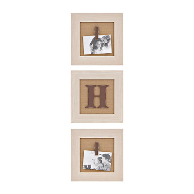 Cream Monogram H Clip Collage Frames, Set of 3