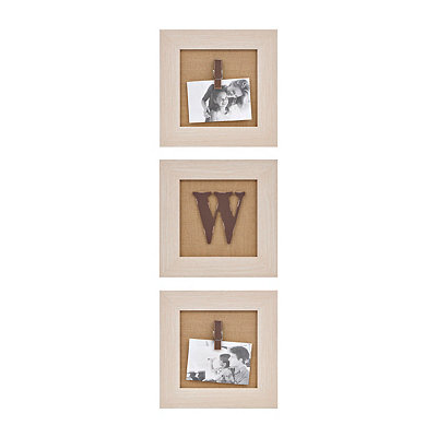 Cream Monogram W Clip Collage Frames, Set of 3