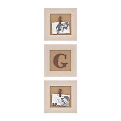 Cream Monogram G Clip Collage Frames, Set of 3