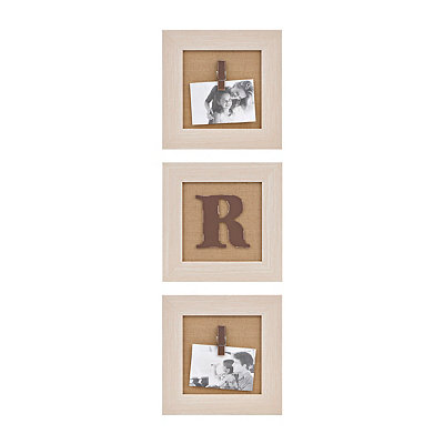Cream Monogram R Clip Collage Frames, Set of 3