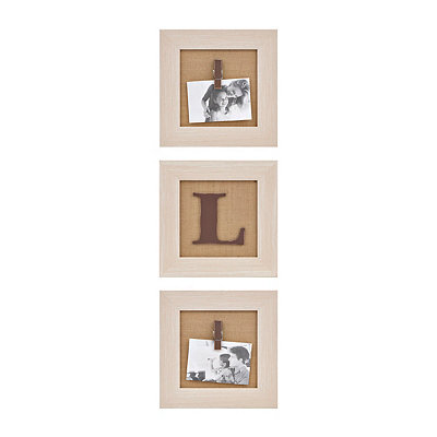Cream Monogram L Clip Collage Frames, Set of 3