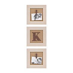 Cream Monogram K Clip Collage Frames, Set of 3