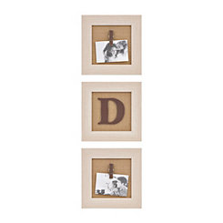 Cream Monogram D Clip Collage Frames, Set of 3