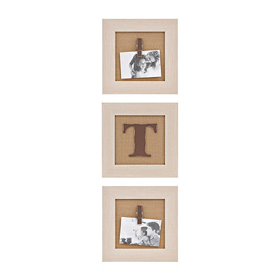 Cream Monogram T Clip Collage Frames, Set of 3