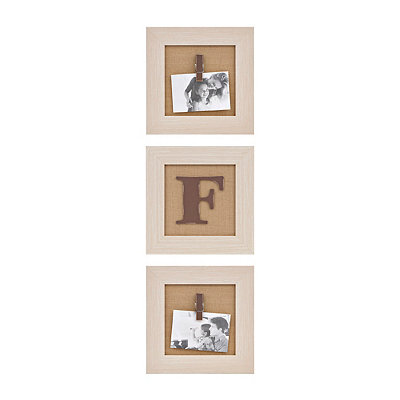 Cream Monogram F Clip Collage Frames, Set of 3