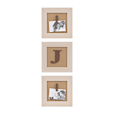 Cream Monogram J Clip Collage Frames, Set of 3