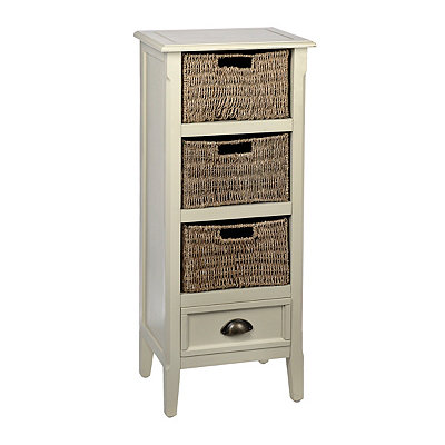 Ivory 4-Drawer Storage Chest with Baskets