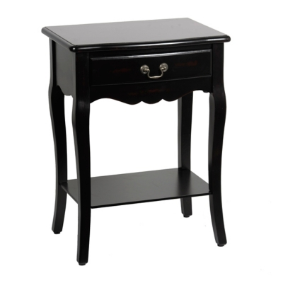 Black Scalloped Cabriole Side Table