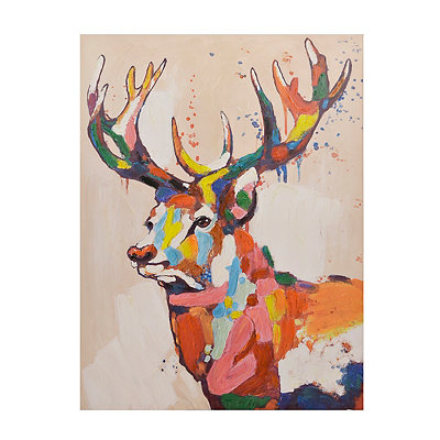 Colorful Deer Canvas Art Print
