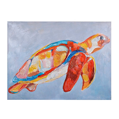 Colorful Sea Turtle Canvas Art Print