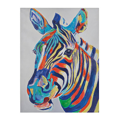 Colorful Zebra Canvas Art