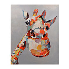Colorful Curious Giraffe Canvas Art Print