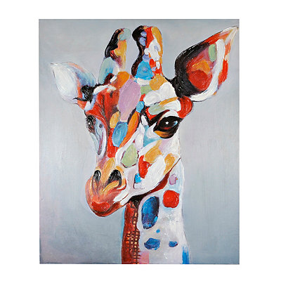 Colorful Serious Giraffe Canvas Art Print