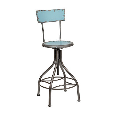 Distressed Blue Metal Bar Stool