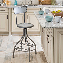 Distressed Cream Metal Bar Stool