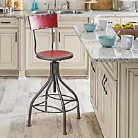 Distressed Red Metal Bar Stool