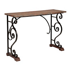 Natural Wood and Metal Scrolls Console Table