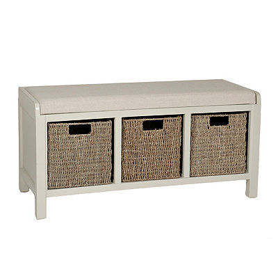 Ivory Upholstered Storage Basket Bench