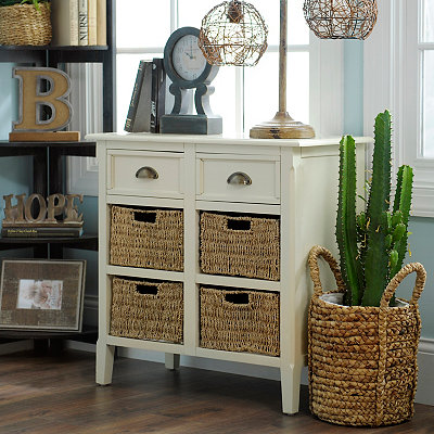 Tall Ivory 6-Drawer Storage Chest