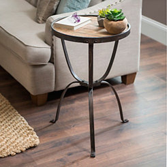 Rustic Slats Wood and Metal Side Table