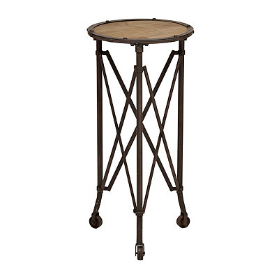 Accordion Metal and Wood Side Table