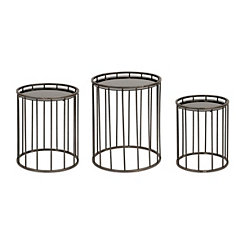 Silver Metal and Glass Side Tables, Set of 3