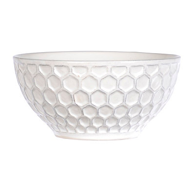 White Ceramic Honeycomb Bowl