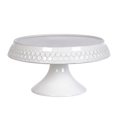 White Honeycomb Cake Plate