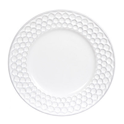 White Ceramic Honeycomb Dinner Plate