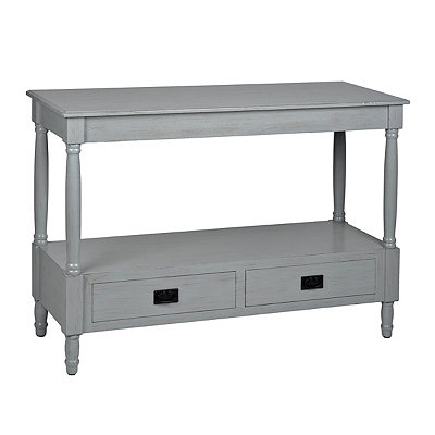 Gray 2-Drawer Wooden Console Table