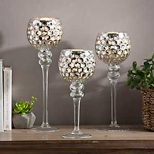 Silver and Gold Mercury Glass Charismas, Set of 3