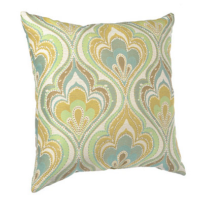 Yellow and Aqua Stitched Lotus Pillow
