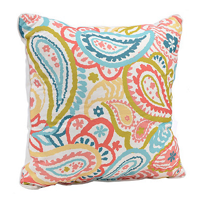 Pink and Green Spring Paisley Pillow