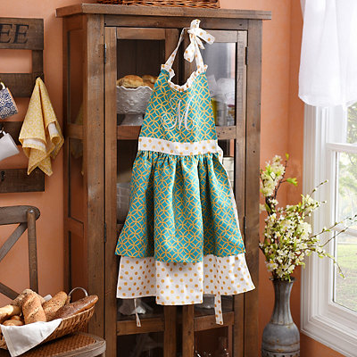 Metallic Gold and Blue Polka Dot Monogram Apron