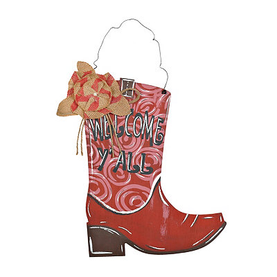Red Welcome Y'all Cowboy Boot Plaque