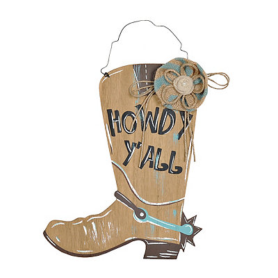 Tan Howdy Y'all Cowboy Boot Plaque