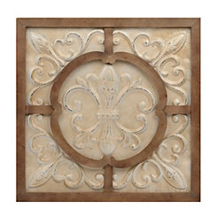 Cream Fleur-de-Lis Metal and Wood Wall Plaque