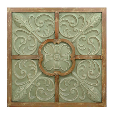 Green Floral Scroll Metal and Wood Wall Plaque