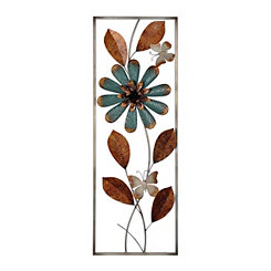 Turquoise and Bronze Floral Panel Metal Plaque