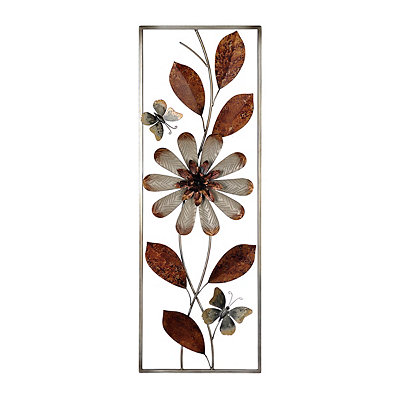 Cream and Bronze Floral Panel Metal Plaque