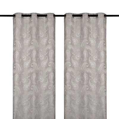 Ash Gray Bangalore Curtain Panel Set, 84 in.