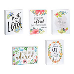 Metallic Floral Faith Word Blocks