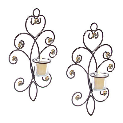 Grace Bronze Bling Votive Sconces, Set of 2