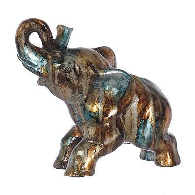 Blue and Brown Color Infusion Elephant Statue