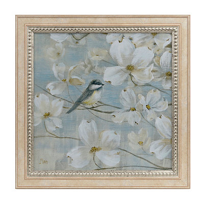 White Dogwood Birds I Framed Art Print