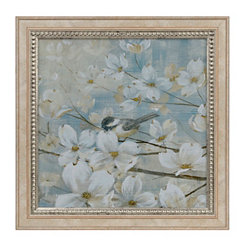 White Dogwood Bird II Framed Art Print