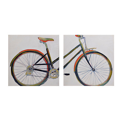 Vintage Bicycle Canvas Art Prints, Set of 2