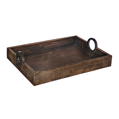 Rustic Wood Tray with Round Metal Handles